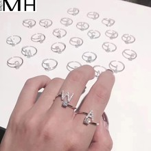 s925sterling silver letter ring chic female fashion personality  tide sterling silver can adjust simple couple rings
