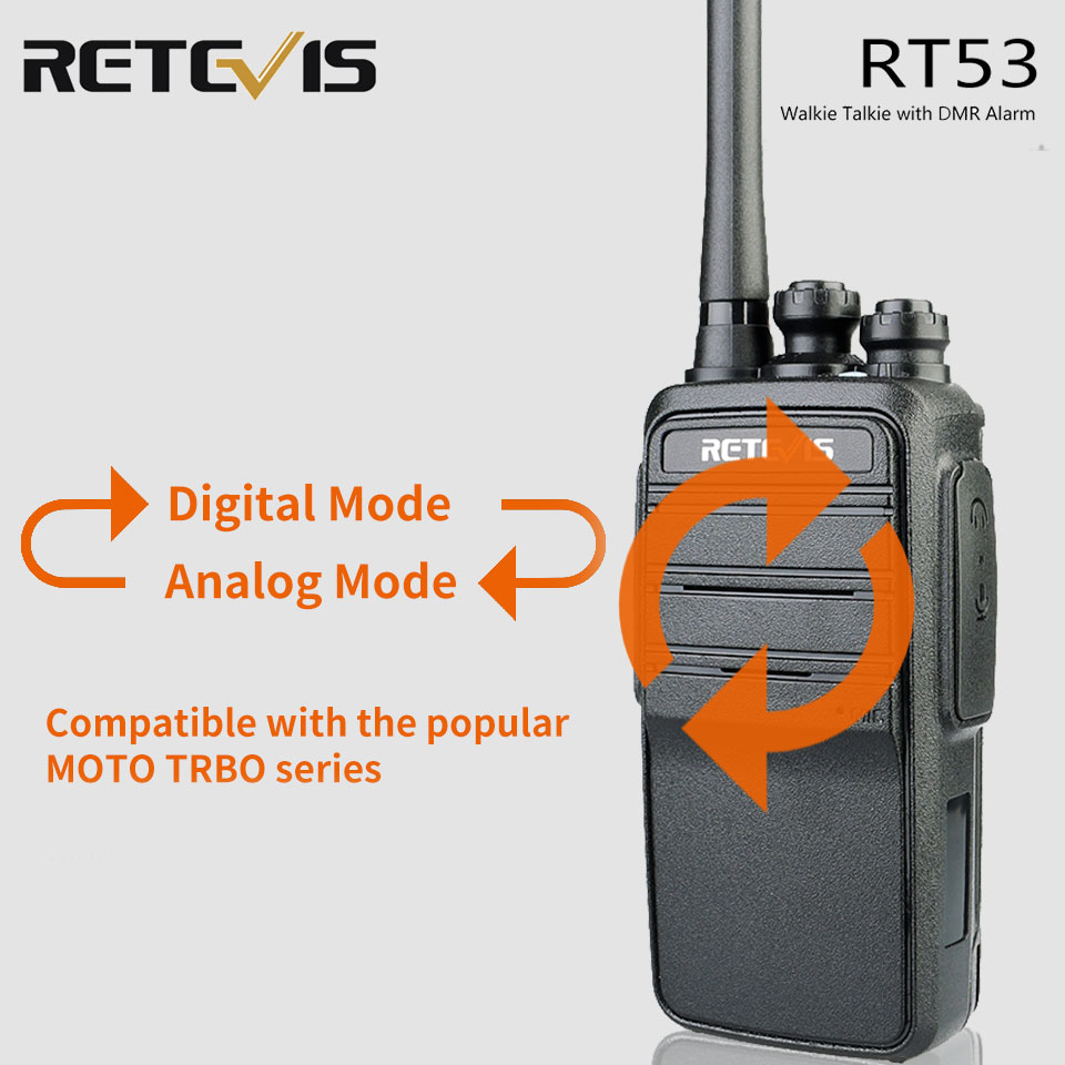 Retevis RT53 DMR Digital Walkie Talkie 2W UHF DMR Radio Two Way Radio Comunicador Transceiver Handsfree Walkie Talkies Ham Radio