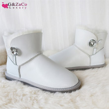 G&Zaco Sheep Wool Boots Genuine Sheepskin Boots Shoes Women Leather Snow Boots White Warm Fur Flat Short Winter Waterproof Boot цены онлайн