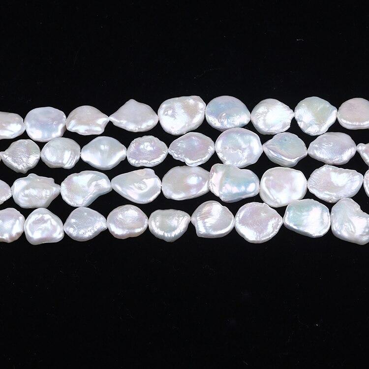 16-17 мм большая пресноводная жемчужина string white keshi loose нить жемчуга