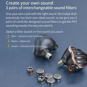 Image 4 - FIIO FH7 جديد الرائد 5 الهجين سائق (4 نولز با + 13.6 مللي متر الديناميكي) ايفي الصوت في الأذن سماعة IEM مع MMCX انفصال كابل
