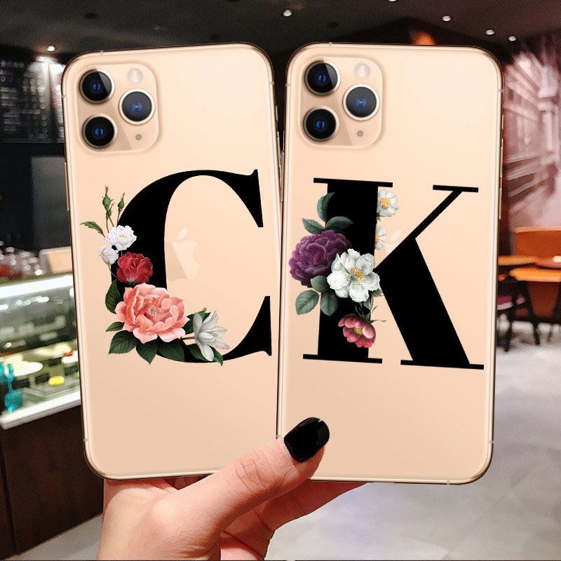 Customized Letter Case For <font><b>Alcatel</b></font> 1S 5024D 1X <font><b>5008Y</b></font> 5059D 5053 3L Idol 2S 3S 5039D Alpha 6032X Housing Cover Mobile Flower Bag image