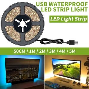 DC5V LED Strip USB Banda LED Waterproof Strip Flexible 50CM 1M 2M 3M 4M 5M Christmas Decor lamp tape For TV Background Lighting(China)