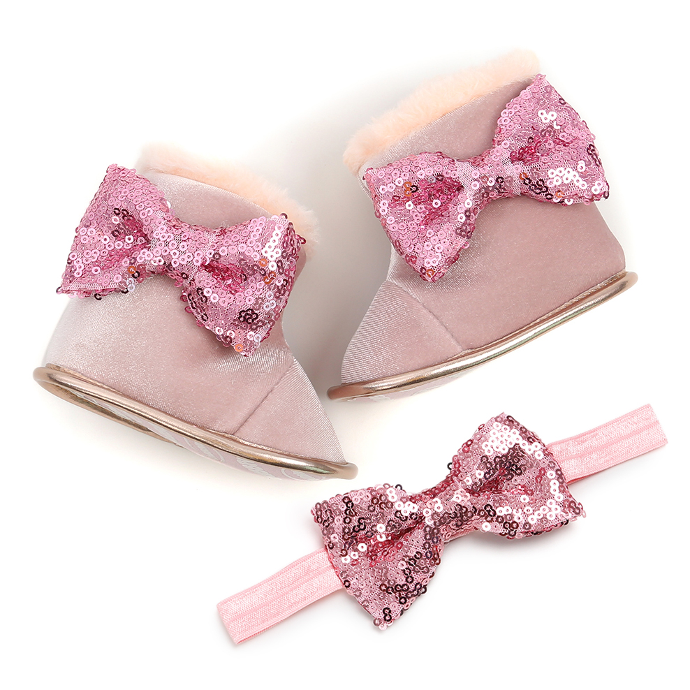 Girls Shoes Bow Fur Winter Boots Warm Baby Girls Boots With Hairband Mid-Calf Length Slip-On Infant Furry Boots 0-18M