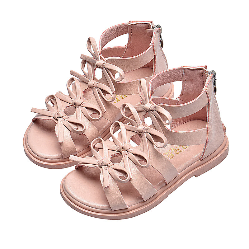 2020 New Kids Sandals Girls Bow Lattice Flat Heel Beach Shoes Children Sandals For Girls Princess Casual Sneakers Size 21-36