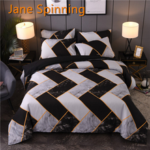 Bedding-Set Quilt-Cover-Set Comforter King Queen Black White Spinning Jane Geometry Ww33-