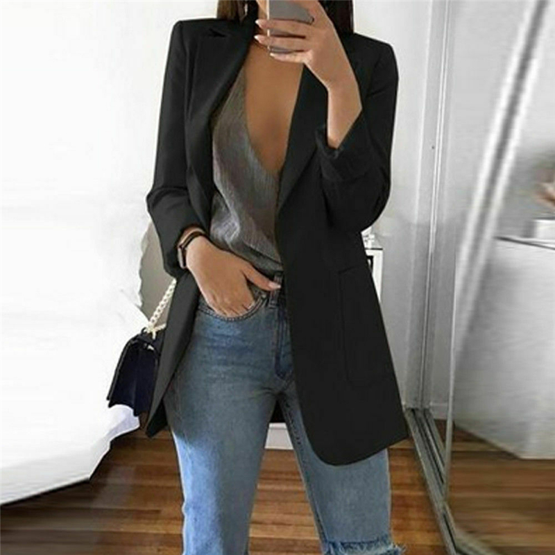 2019 Autumn Women Casual Long Sleeve Coat Suit Slim Cardigan Tops Blazer Jacket Outwear Formal Women V Neck Blazer Big Pocket