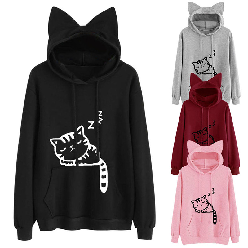 Harajuku Women Hoodies Sweatshirt Kawaii Black Grey Pink Autumn Winter Cat Pattern Long Sleeve Loose Velvet Warm Hoodies