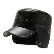 Плоская шапка для мужчин зимние шапки из искусственной кожи