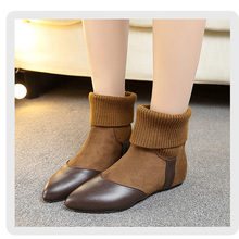 2019 New Women Sock Boots pointed Toe Elastic High Boots Comfy Slip On flat Heels Ankle Boots Flat with Botas Feminino boot Shoe 2017 spring sexy new women boots fretwork heels ankle boots pointed toe high heeled boots booties stretchy sock boots slip on 42