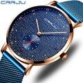 CRRJU  мужские часы  модные  простые  ультра тонкие  нержавеющая сталь  сетка  ремешок  кварцевые наручные часы  повседневные  водонепроницаемы...