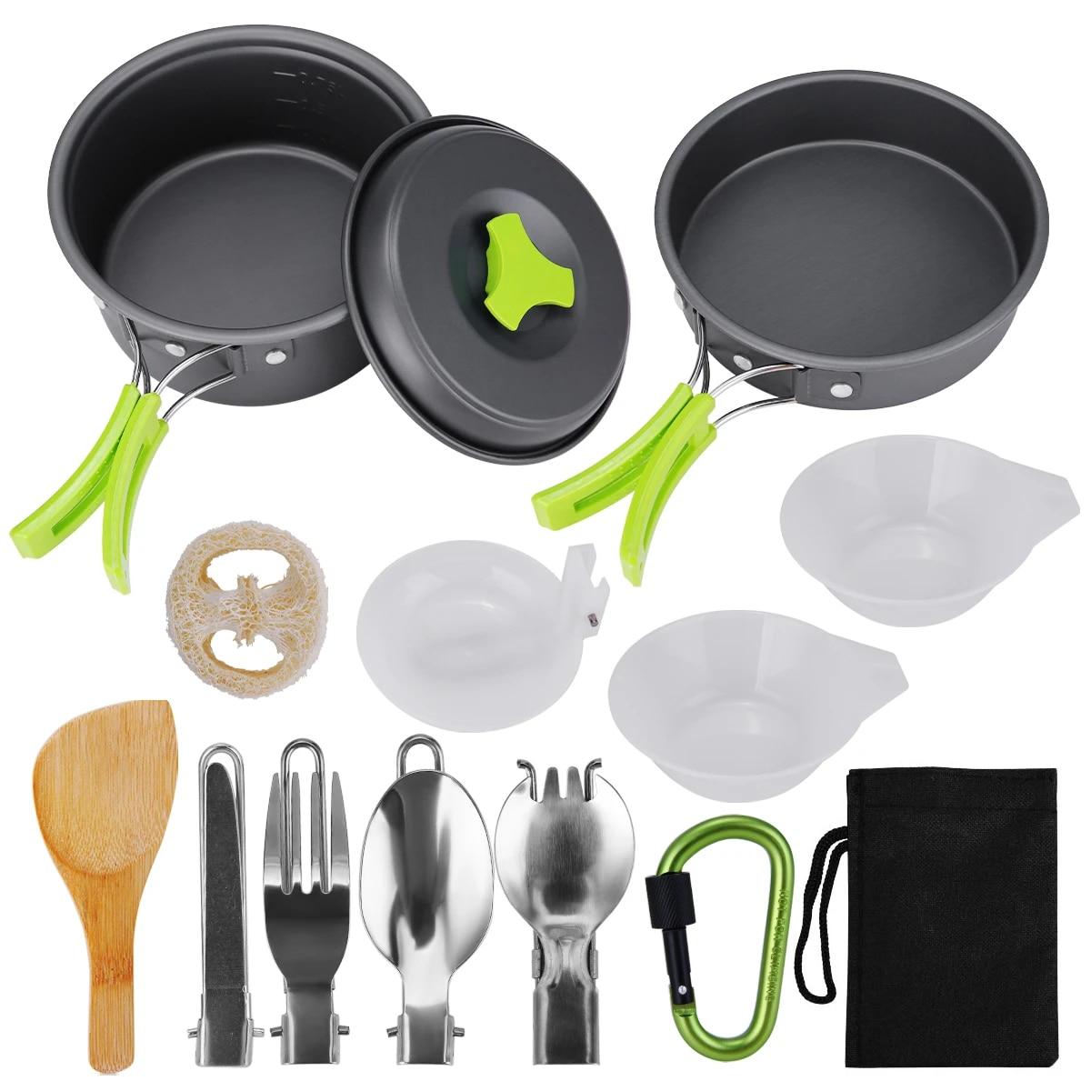 8-12Pcs Outdoor Camping Hiking Cookware Backpack Cooking Picnic Bowl Pot Pan Set