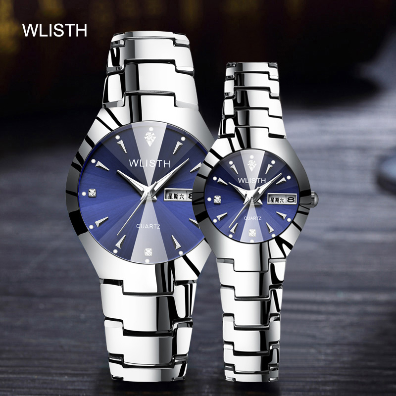 WLISTH Couple Watch Gifts Diamonds Stainless-Steel Men Women Ladies Lover Casual Fashion