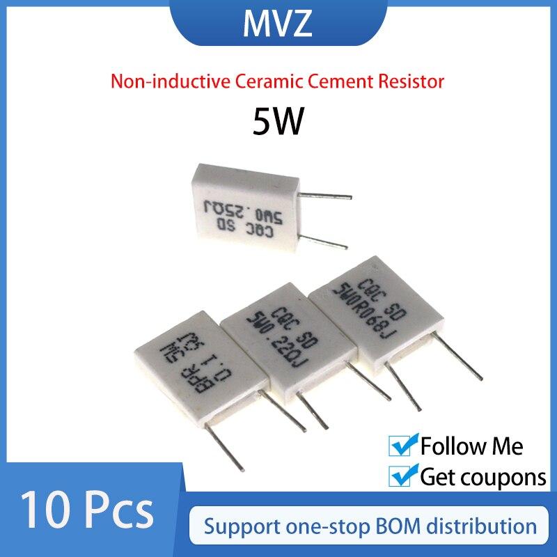 10pcs BPR56 5W 0.07R 0.075R 0.08R 0.082R 0.1R Ohm Não-indutivo Resistor Cimento Cerâmica 0.15R 0.2R 0.22R 0.25R 0.3R 0.33R 0.47R