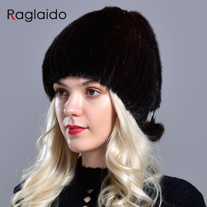 Real Mink Fur Hats Women's Winter Natural Geniune Fur Warm Knitted Hats With 3 Balls Handsewn Fashionable Skullies Beanies Hat