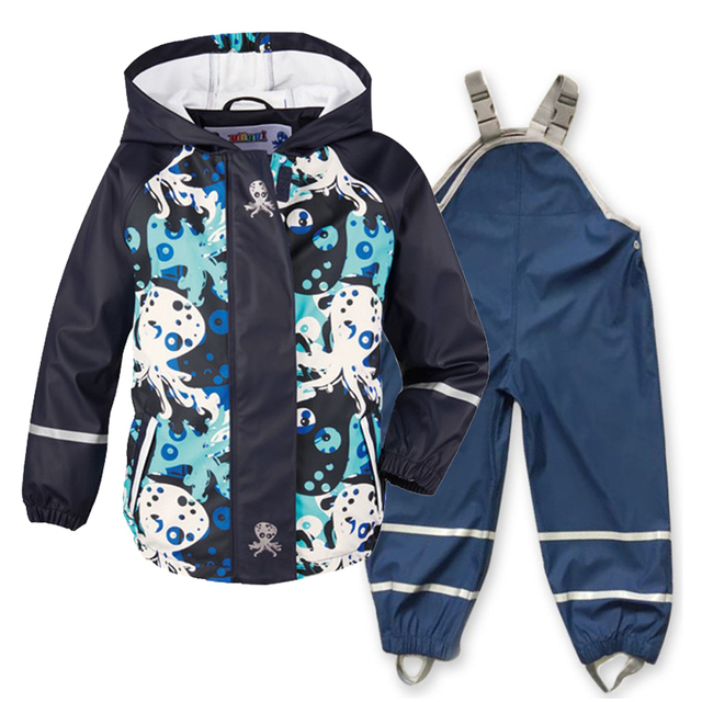 Spring, summer and autumn new childrens PU leather poncho raincoat waterproof windproof
