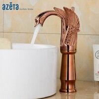 Bird Design High Rose Gold Brass Single Handle Wash Basin Faucet