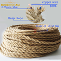 Vintage Rope Twisted Electrical Wire Hemp Rope Woven Textile Wire Twisted Cable Braided Retro Pendant Light Cord 2*0.75mm