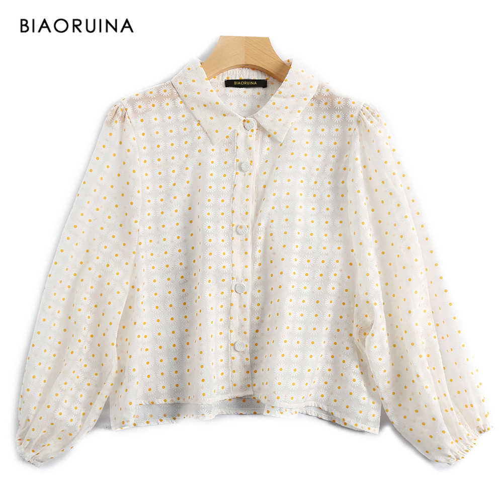 BIAORUINA Women's Daisy Embroidery Perspective Casual Shirt Turn-down Collar Single Breasted Loose Shirt Blouse Lantern Sleeve