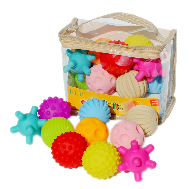 10pcs Soft Balls Toy Baby Rubber Textured Ball Set Baby Tactile Senses Developping Stress Ball Training Massage Touch Ball