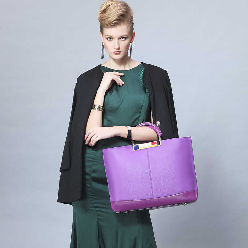 Qiwang grande capacidade tote bags roxo europeu marca bolsas designer de couro real bolsa feminina espaçosa bolsa para portátil digno