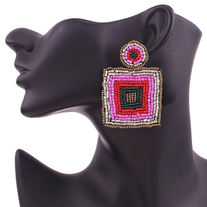 lady Boho Handmade Beaded Jewelry Leaf Pendant Earrings for Women New Design Wedding Jewelry Korean Drop Dangle Earring