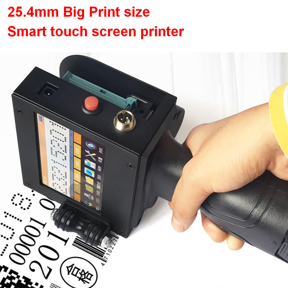 Handheld Inkjet Printer Touch Screen Laser Coder Label Print Machine 12.7mm USB QR Barcode Production Date Logo English Chinese