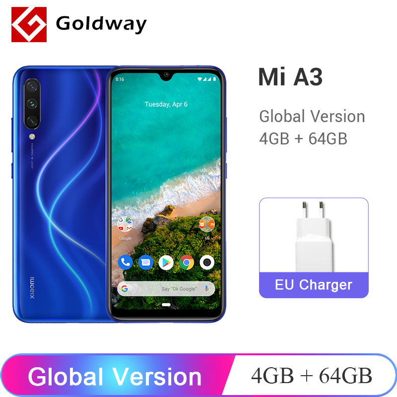 In Stock ! Global Version Xiaomi Mi A3 MiA3 4GB 64GB Smartphone Snapdragon 665 Octa Core 6.088
