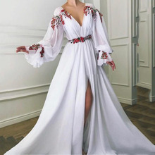 Evening-Dresses Dubai Arabic Sexy Elegant Formal White Long Chiffon Saudi V-Neck Puff-Sleeve