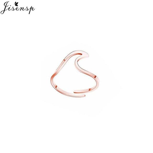 Jisensp Simple Stainless Steel Wave Rings for Women Anel Minimalist Jewelry Ocean Beach Finger Ring Adjustable Ringen Wholesale