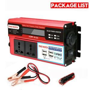 12 В/24/110 В/220 В 500 Вт пик 3000 Вт с цифровым дисплеем красный 4USB фотоэлектрический Инвертор Мульти-розетка автомобильный инвертор источник питан...