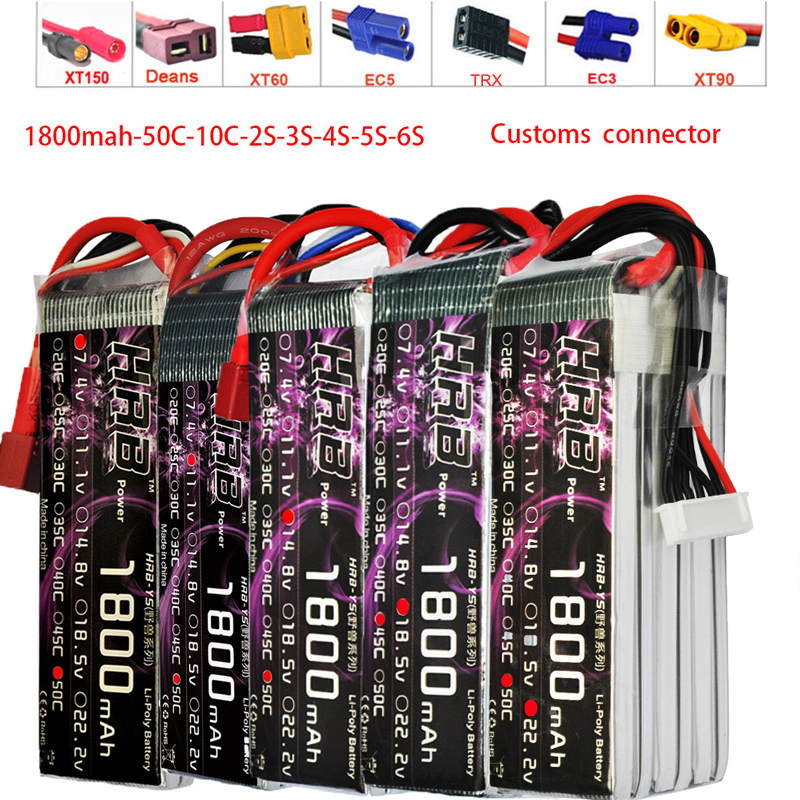 HRB RC Lipo Battery 3.7V 7.4V 11.1V 14.8V 18.5V 22.2V 1S 2S 3S 4S 5S 6S 1800mAh 50C 100C For Helicopter Trex 450 Airplane Boat