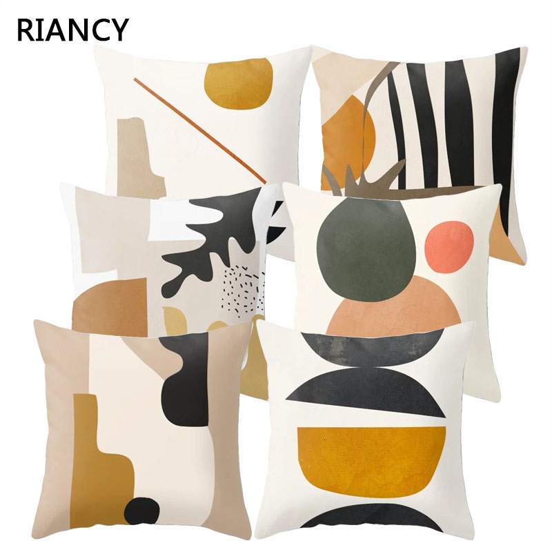 Nordic Style Abstract Geometry Cushion Cover Polyester Decorative Pillows Home Decor Sofa Car Waist Pillowcase 45x45cm 40857