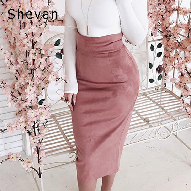 Shevan Midi High Waist Suede Skirt 2019 Winter Elegant Fashion Slim Bodycon Back Slit Brown Green Pink Sexy Pencil Skirt Women