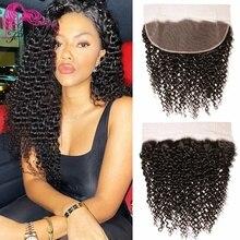 Güzellik sonsuza kıvırcık malezya saç dantel Frontal kapatma 13*4 ücretsiz bölüm kulak kulak Remy İnsan peruk doğal renkli