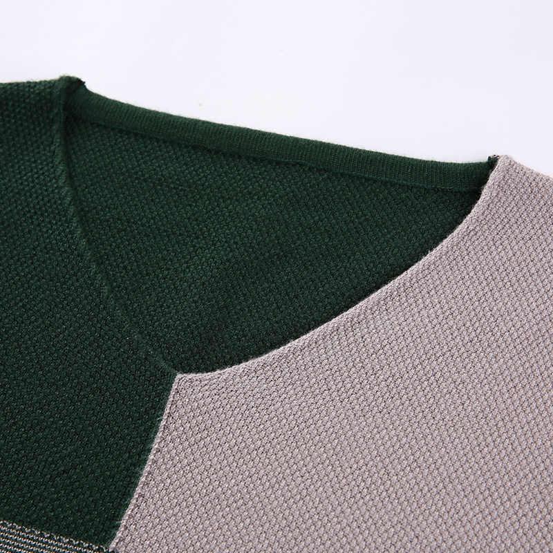 2020 새로운 디자이너 풀 오버 패치 워크 남자 스웨터 Mensjersey 니트 스웨터 망 착용 슬림 맞는 니트 패션 의류 3129