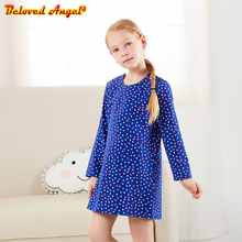 Girl Dress Cotton Long Sleeve Dress Floral Bow Kids Dresses for Girls Fashion Girls Clothing Princess Dress for Party Wedding цены