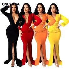 CM.YAYA-vestido ceñido dividido por debajo de la rodilla para mujer, vestido largo Sexy con escote en V y fruncido de cintura alta, longitud hasta el suelo, 2021