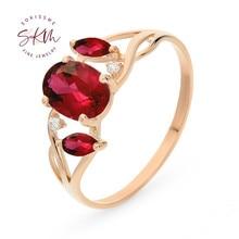 SKM Vintage garnet rings for women flower 14k rose gold Engagement wedding designer Luxury Fine Jewelry