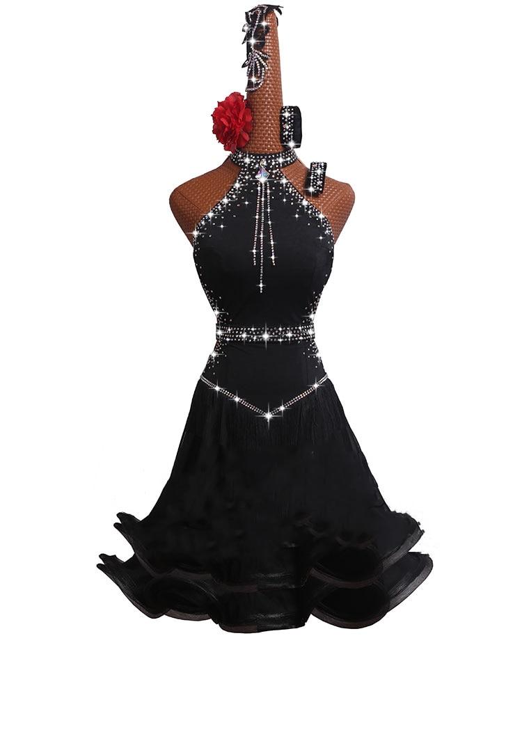 5pcs/set Latin Dance Competition Dress New Performance Dress High-grade Black Chinese Sexy Fishbone Curling Skirt #MD074