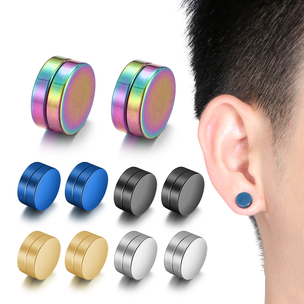 1Pc New Trendy <font><b>Unisex</b></font> Magnetic Fake <font><b>Earring</b></font> Studs No Piercing Crystal Round Shape Men Women Stimulating Acupoints 6/8/10/12MM image