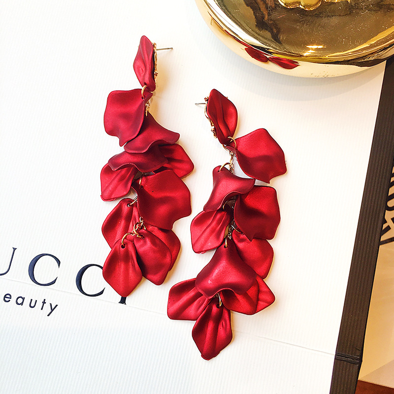Rose Petals Red Exaggerated Big Earrings Female Temperament Long Fashion Statement Earrings 2019 for Women New Jewelry in Stud Earrings from Jewelry Accessories