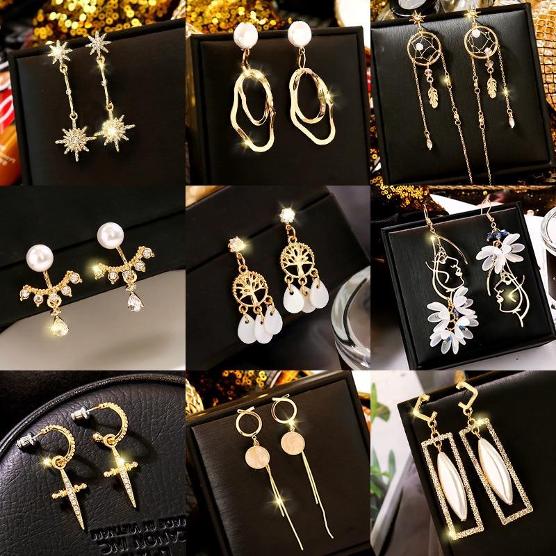 Earrings 2020 New Style Cool Girl's Korean-Style Elegant Long Ear Pendant Cool All-match Tassel Simple Net Red Ear Stud Ear Stud