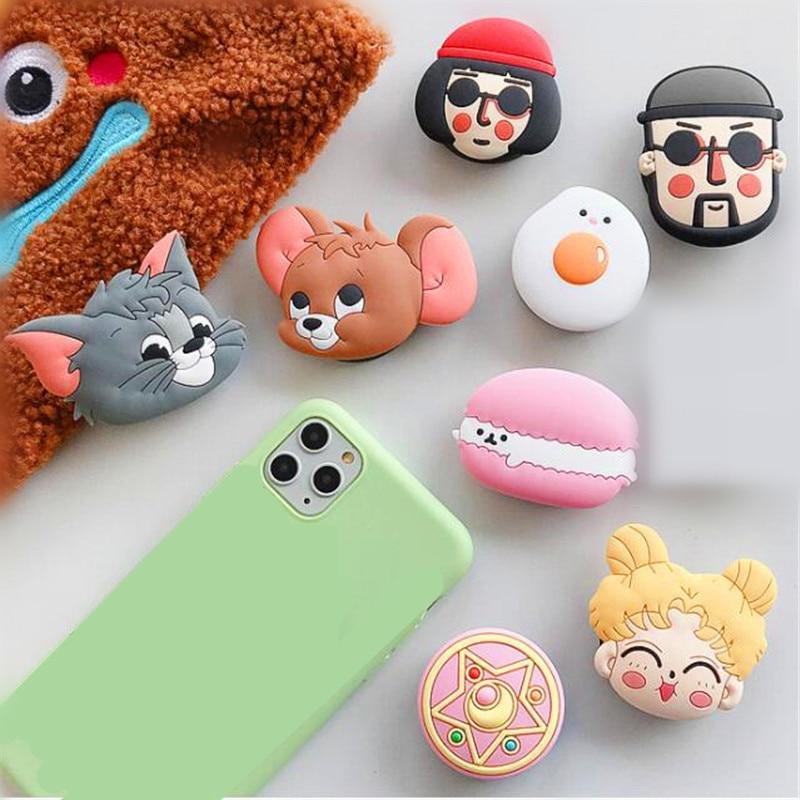 Universal Mobile Phone Bracket Cute Animal Socket Airbag Phone Expanding Cat Mouse Rotatable Finger Holder Phone Holder Stand
