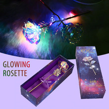 Luminous Rose Eternal Flower Luminescence with Gift Bag Home Ornament Props Anniversary 24K Gold Foil MotherS Day Party