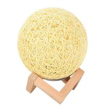 Cane Ball LED Night Light USB Children Bedroom Living Room Bamboo Rattan Home Decorative Lamp Energy Save Lighting with Bracket(China)
