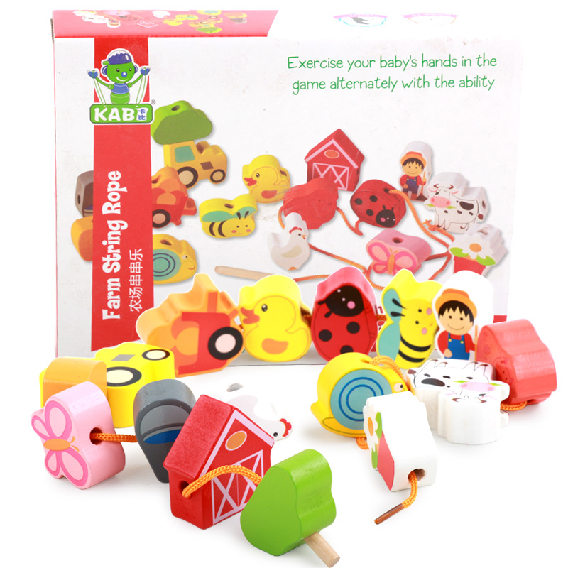 1-3 Years Old Wooden Children Early Childhood Cognitive Educational String Music Toy City Figure Farm Fruit Beaded Bracelet