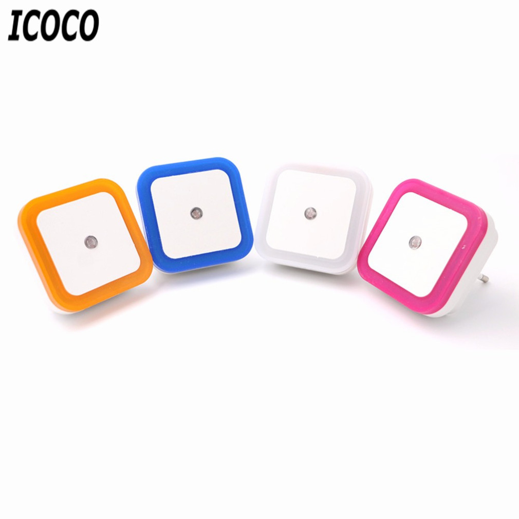 ICOCO EU/US Plug LED Induction Lamp Square Shape Wall Light Night Light Automatic Switch Light Sensor Bedroom Household Supply