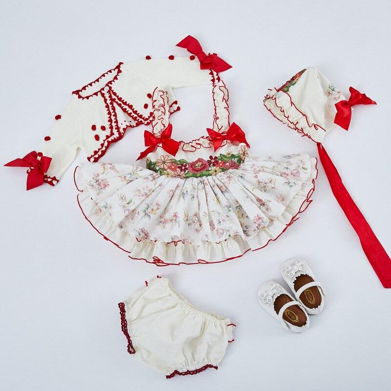 4PCS Del Bambino Della Ragazza Floreale Vintage Spagnolo Abito di Sfera Autunno Inverno Del Bambino Del Vestito Dalla Principessa Lolita per la Ragazza Di Compleanno Vestito Da Partito