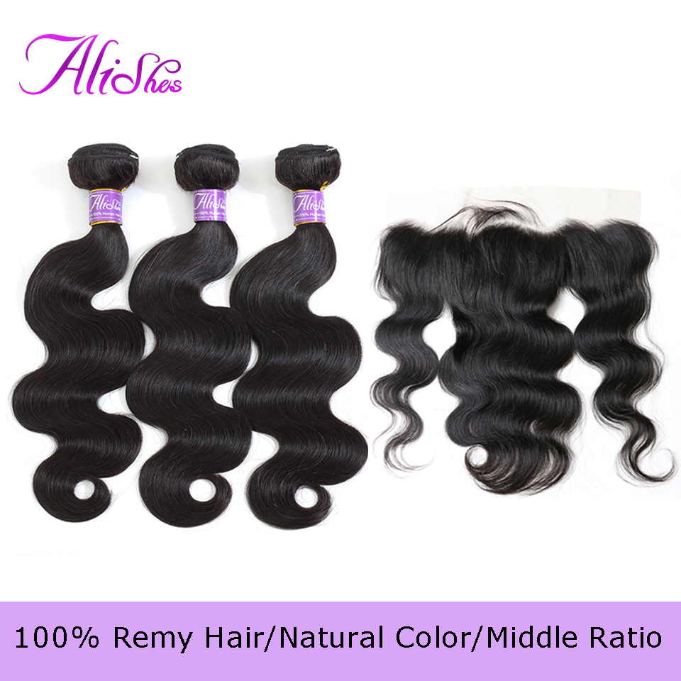 Alishes Brazilian Body Wave Bundles With Frontal Remy Human Hair Weave 3 Bundles With Frontal 13x4 Transparent Lace Closure